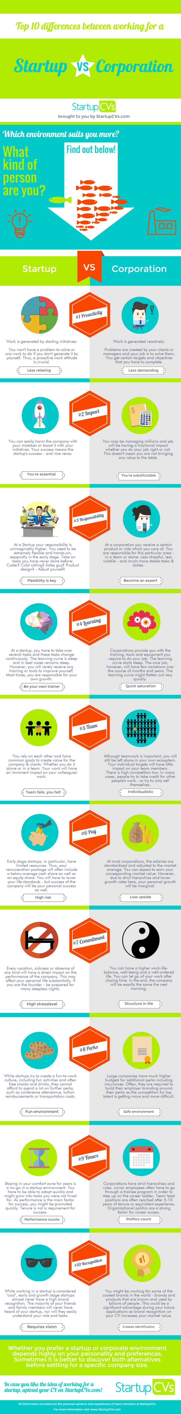 startups vs corporations infographic - StartupCVs