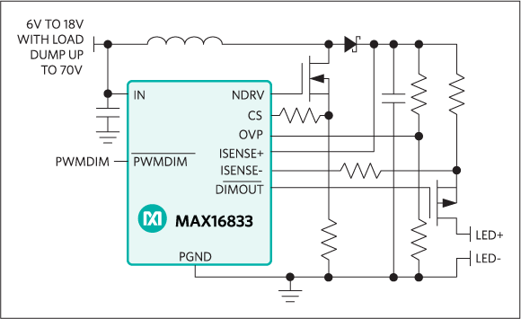 Maxim Integrated MAX16833 High-Voltage HB LED Driver